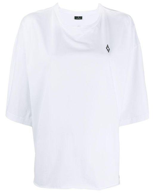 Marcelo Burlon Camiseta oversize con estampado floral de mujer de color blanco GBLHZ
