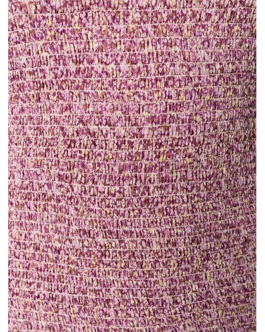 Stella McCartney フローラル シャーリングドレス Purple