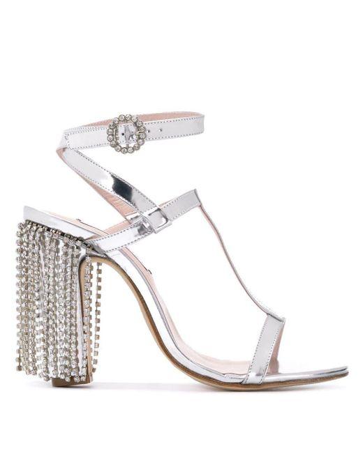 Sandales à détails de strass LEANDRA MEDINE en coloris Metallic
