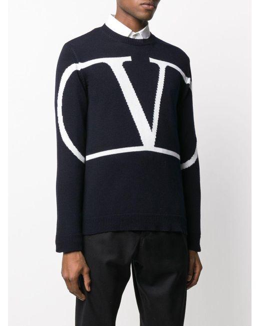 メンズ Valentino Vロゴ オーバーサイズ クルーネック プルオーバー Blue
