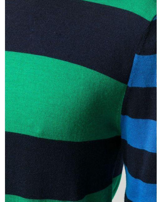 メンズ Pringle of Scotland ラグビーストライプ プルオーバー Blue