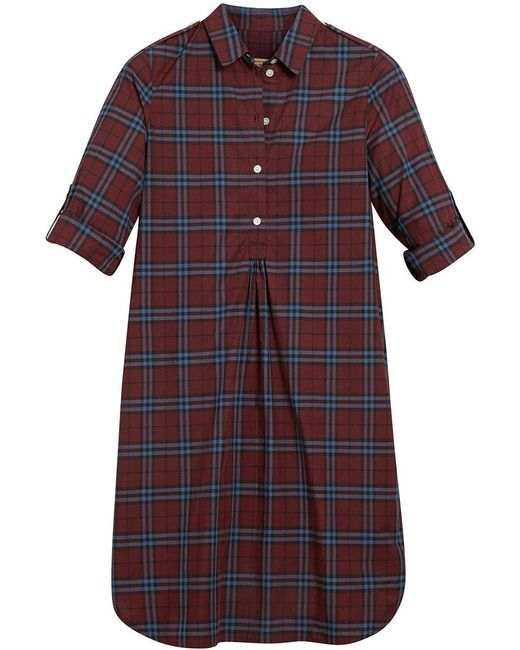 Burberry - Red Check Tunic Dress - Lyst