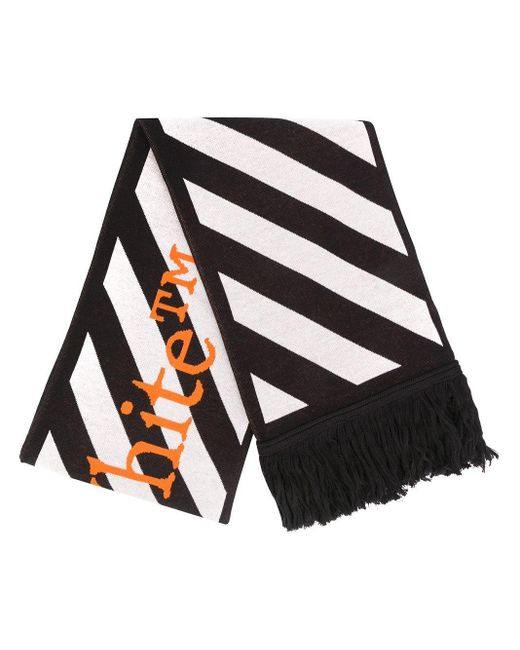 Шарф В Диагональную Полоску С Логотипом Off-White c/o Virgil Abloh для него, цвет: Black