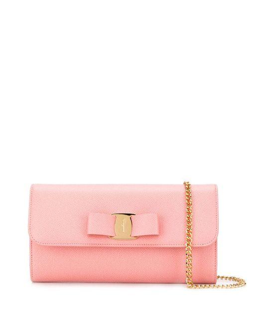 Ferragamo ヴァラリボン クラッチバッグ Pink