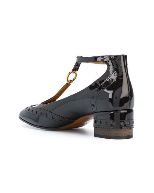 Chlo 233 Block Heel Strappy Court Shoes In Brown Lyst