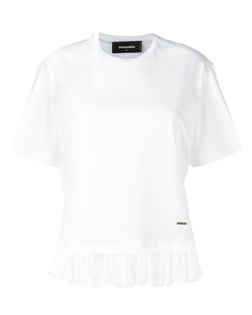 DSquared²   White - Lace Effect Fringed T-shirt - Women - Cotton/polyamide - S   Lyst