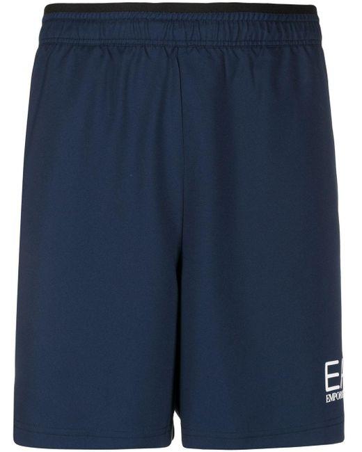 メンズ EA7 ロゴ ショートパンツ Blue