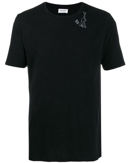 メンズ Saint Laurent グラフィック Tシャツ Black