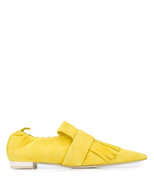 Cyclas Yellow Fringed Pointy Loafers