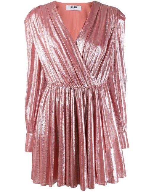 MSGM メタリック プリーツドレス Pink