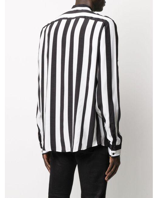 Полосатая Рубашка С Воротником-стойкой Balmain для него, цвет: White