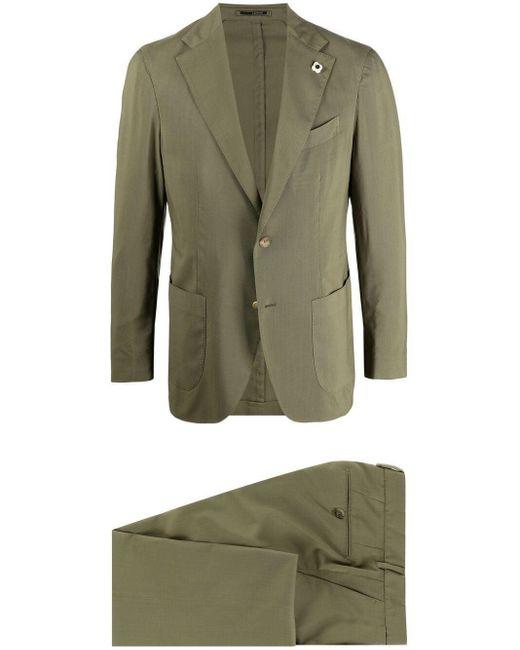 メンズ Lardini ウール シングルスーツ Green