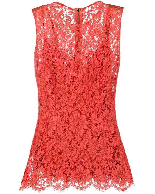 Блузка Без Рукавов Из Цветочного Кружева Dolce & Gabbana, цвет: Red
