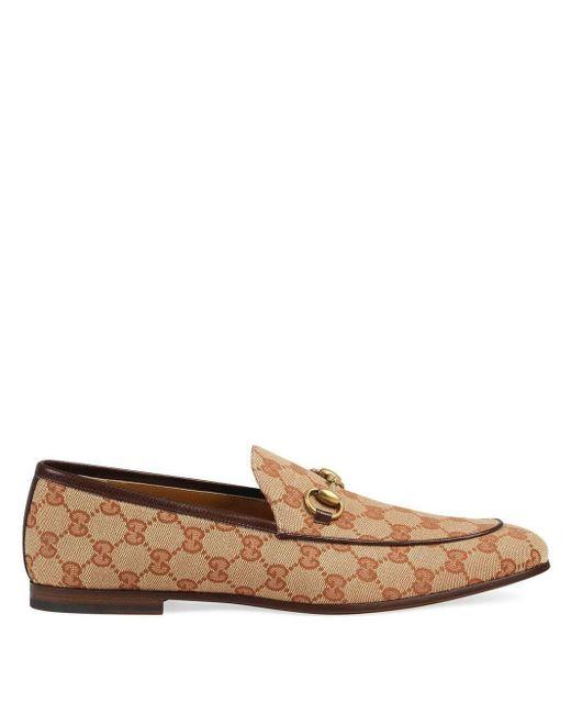 Gucci Brown Jordaan Horsebit Leather-trimmed Monogrammed Canvas Loafers for men