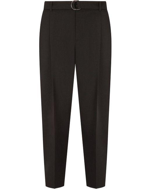 メンズ Dolce & Gabbana ベルテッド プリーツパンツ Black