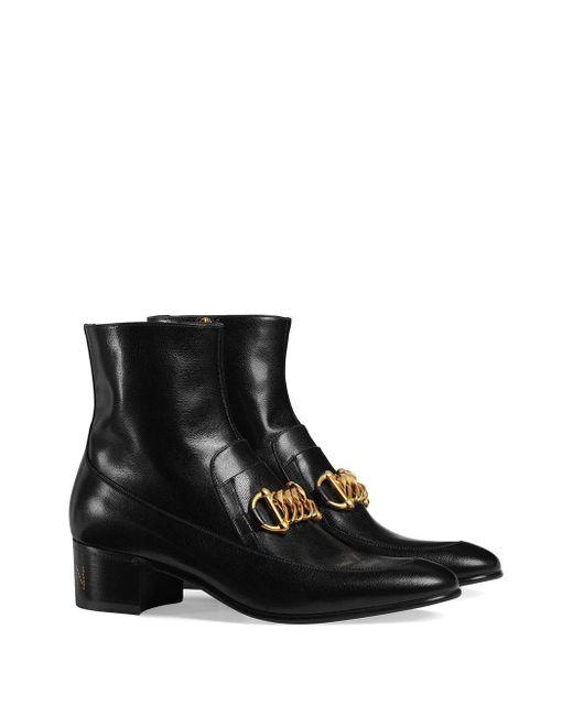 メンズ Gucci メンズ ホースビット チェーン レザー ブーツ Black