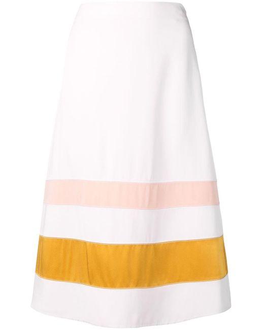 Jupe mi-longue à rayures Marni en coloris White