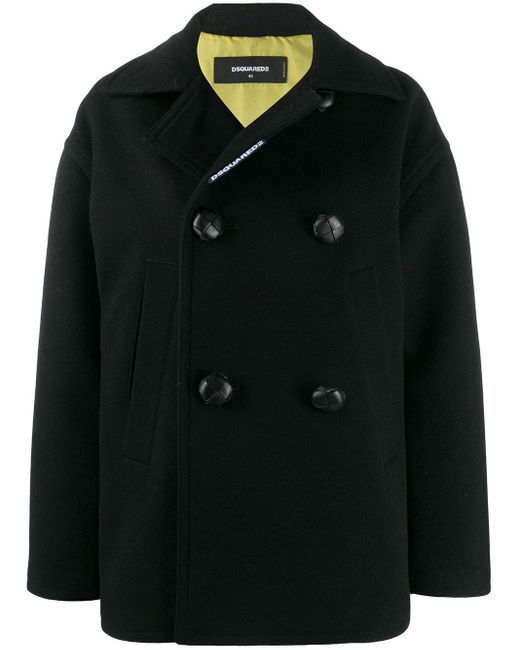 DSquared² Black Double-breasted Coat