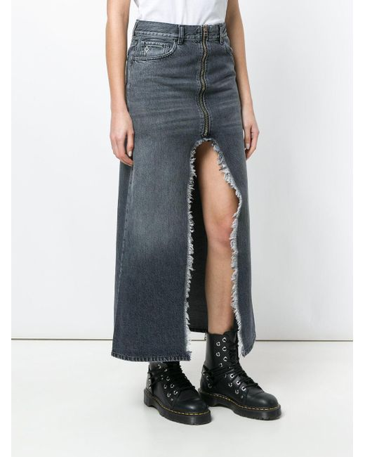 Denim long skirt Marcelo Burlon en coloris Black