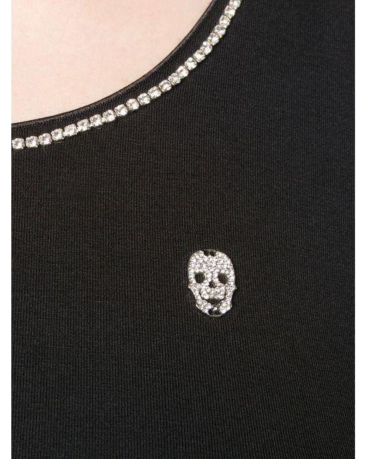 Philipp Plein Black Oberteil mit Kristallen