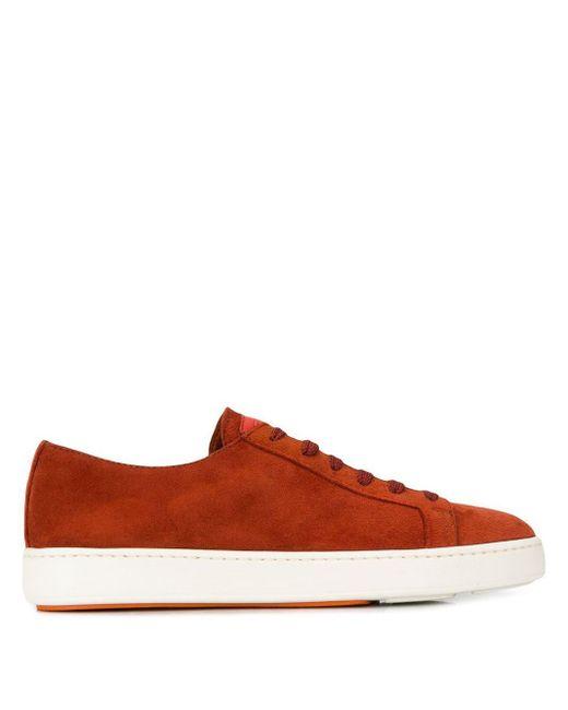 Кроссовки На Шнуровке Santoni для него, цвет: Orange