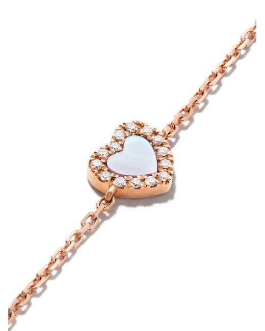 AS29 Miami Heart ダイヤモンド パール ブレスレット 18kローズゴールド Metallic
