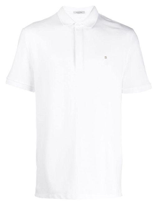 メンズ Valentino アップリケ ポロシャツ White