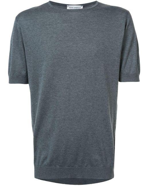 メンズ John Smedley ラウンドネック Tシャツ Gray