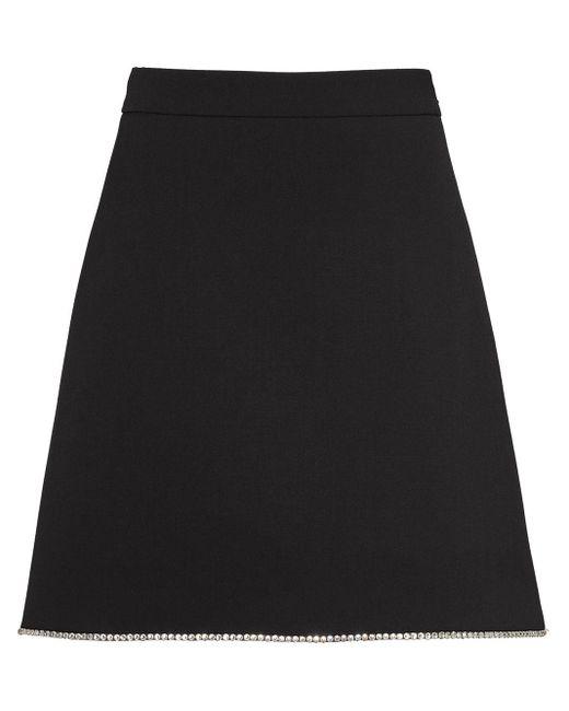 Miu Miu ビジューaラインスカート Black