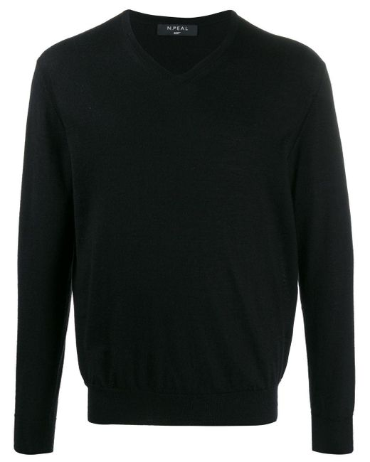 Джемпер С V-образным Вырезом N.Peal Cashmere для него, цвет: Black
