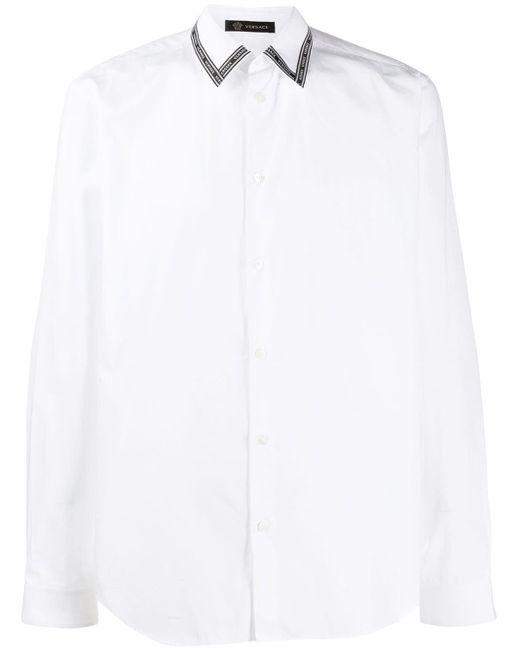 メンズ Versace ロゴ テーラード シャツ White