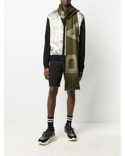 メンズ Givenchy ロゴ フレイド スカーフ Green