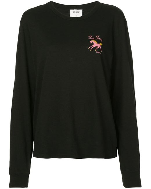 Re/done Pink Pony Tシャツ Black