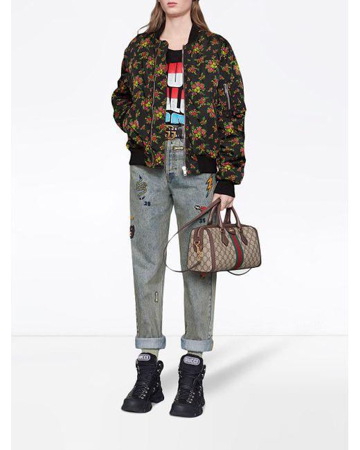 33e6847d9a Women's Brown Ophidia GG Medium Top Handle Bag
