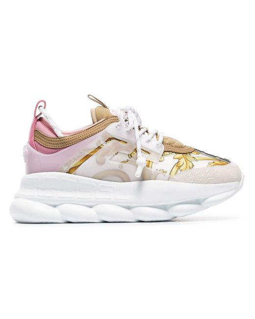 Versace - White Multicoloured Chain Reaction Baroque Leather And Fabric Sneakers - Lyst