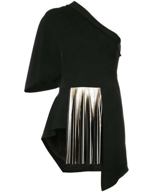 Yigal Azrouël | Black One Shoulder Pleated Blouse | Lyst