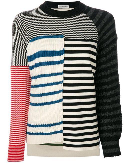 Sonia Rykiel   White Striped Panelled Jumper   Lyst