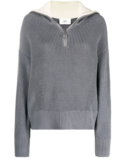AMI Gray Zip-up Knitted Jumper