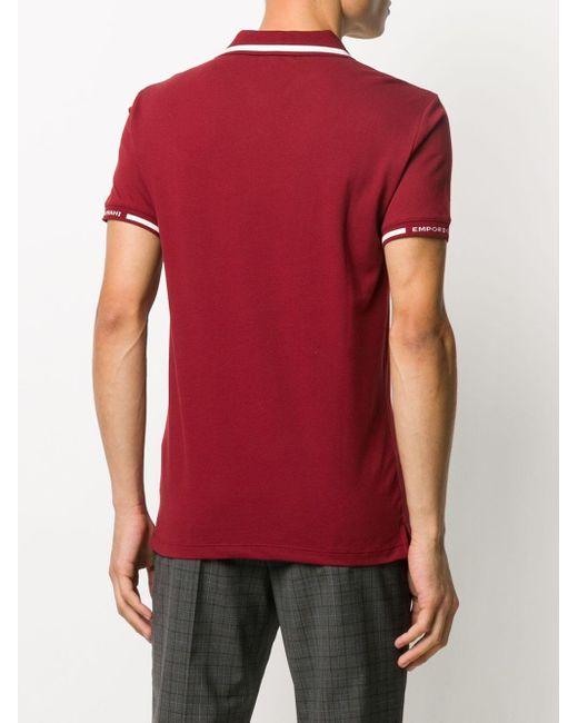 メンズ Emporio Armani ロゴ ポロシャツ Red