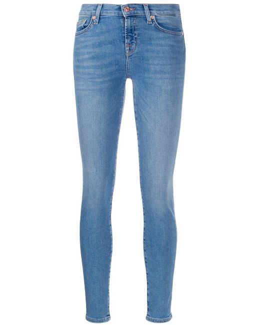 7 For All Mankind ハイライズ スキニージーンズ Blue