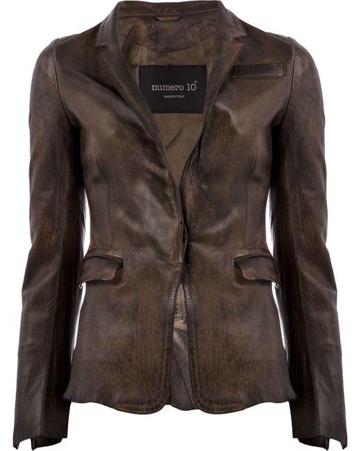 Veste cintrée en cuir Numero 10 en coloris Brown