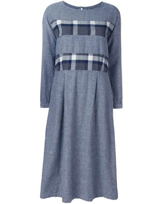 Blue Blue Japan - Blue Plaid Striped Dress - Lyst