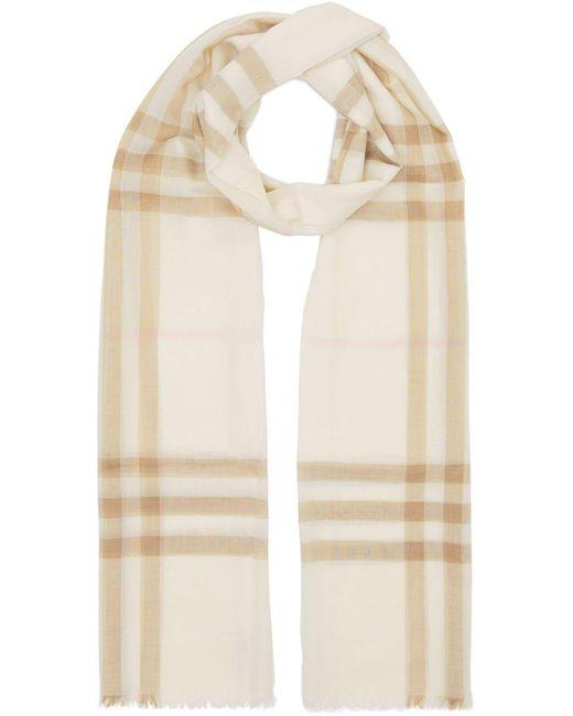 Burberry チェック スカーフ Natural