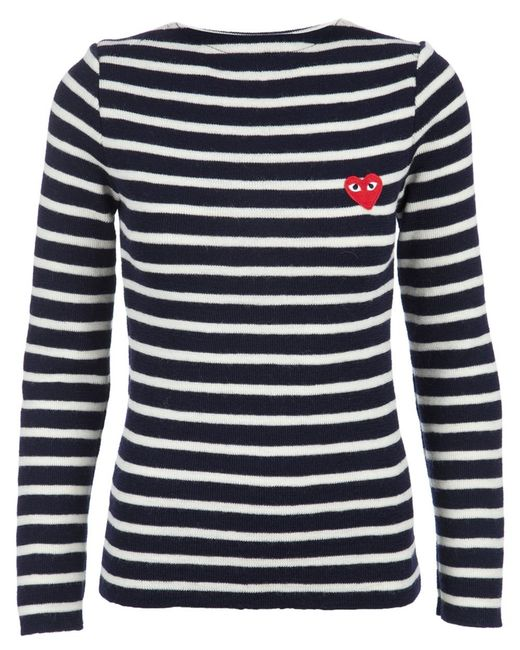 Play Comme des Garçons | Blue Embroidered Heart Striped Jumper | Lyst