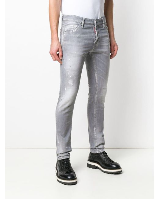 0e252260d68 ... DSquared² - Gray Cool Guy Lightly Distressed Jeans for Men - Lyst ...
