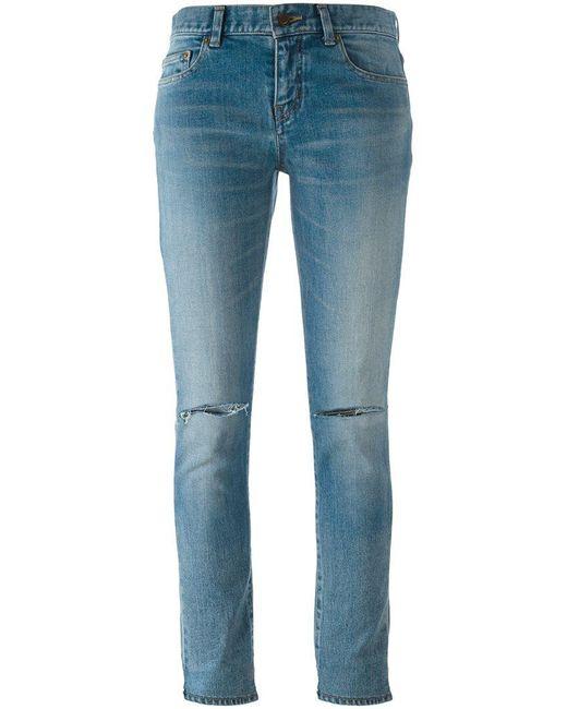 Saint Laurent - Blue Distressed Skinny Fit Jeans - Lyst
