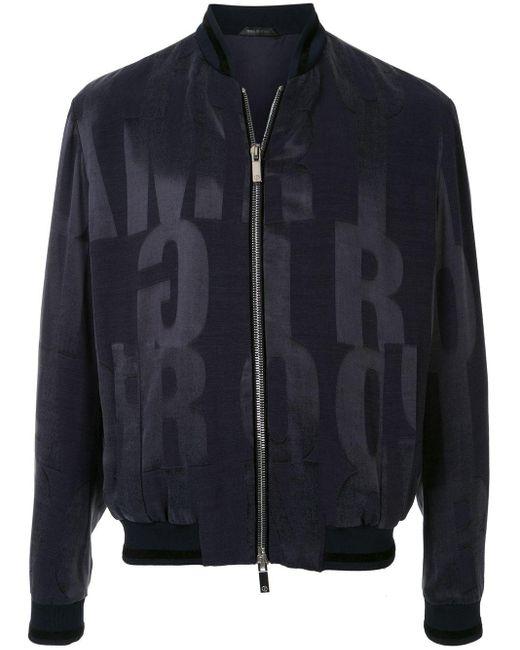 メンズ Giorgio Armani ロゴ ボンバージャケット Black