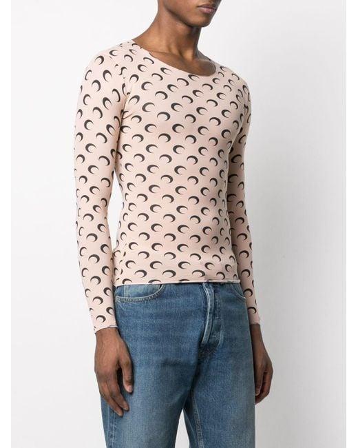 MARINE SERRE Multicolor T-Shirt mit Mond-Print