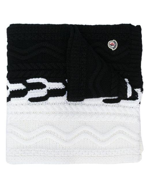 Moncler バイカラー ニット スカーフ Black