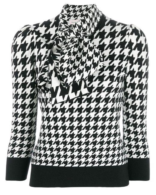 Blouse à motif pied-de-poule Alexander McQueen en coloris Black